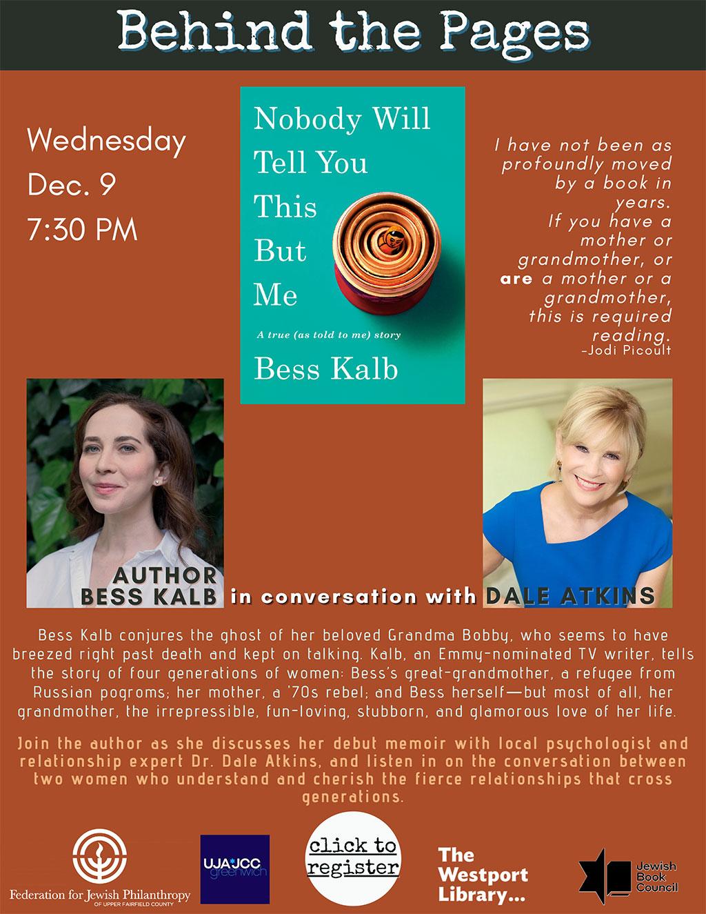 Dr Dale Atkins Interviews Bess Kalb, Emmy-nominated TV writer