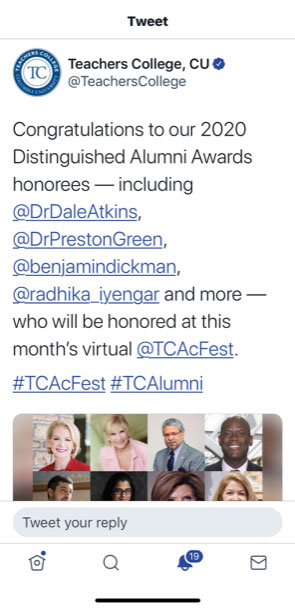 Dr. Atkins is honored to Receive Distinguished Alumni Award from Teachers College