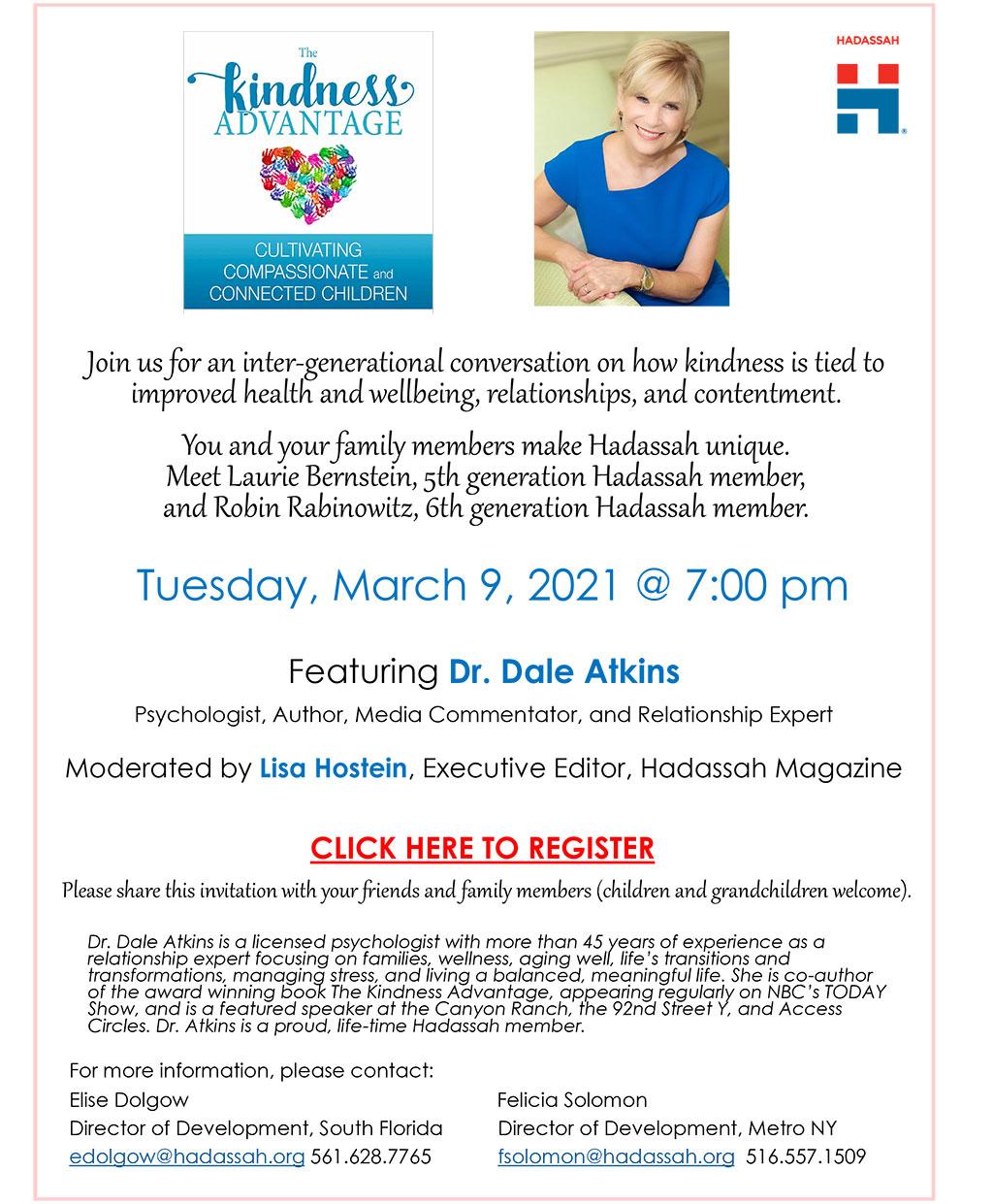 Mar 9 2021 Hadassah Kindness Advantage with Dr. Dale Atkins